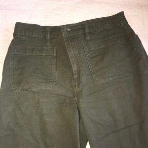 Wide leg crop J crew navy green pants